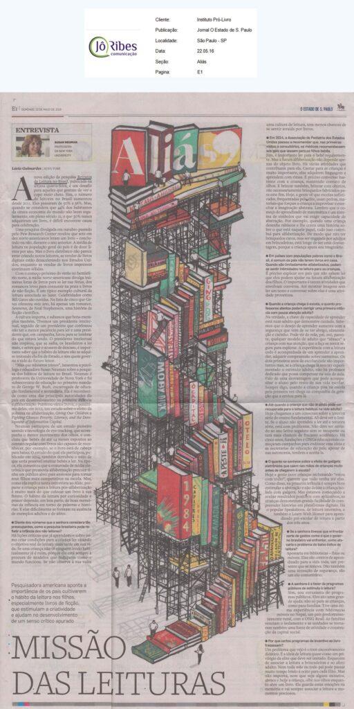 Jornal O Estado de S. Paulo - 22.05.16 - Pag E1