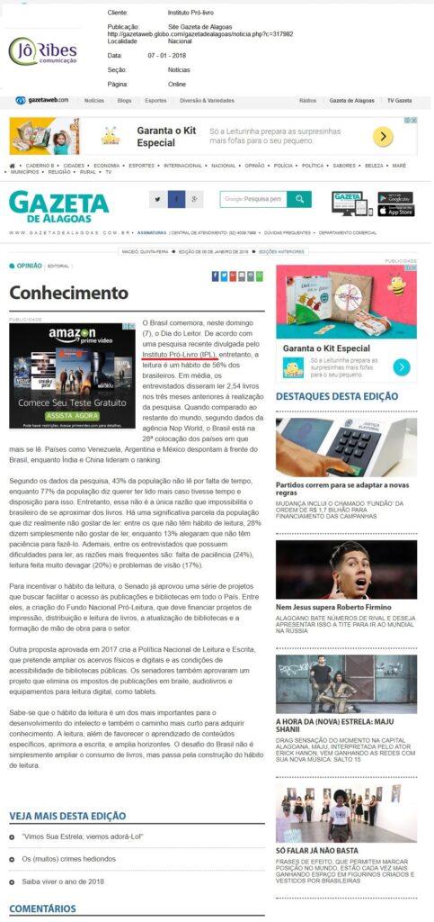 Site Gazeta de Alagoas - 07-01-2018