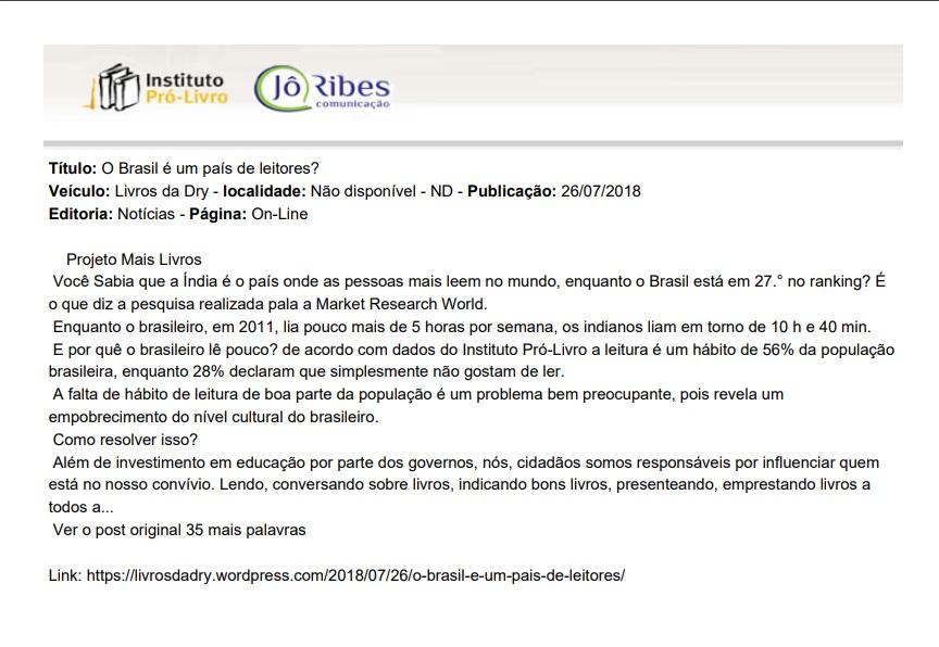 o brasil é pais de leitores