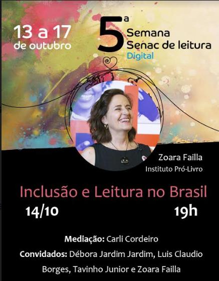 Zoara Failla é convidada da 5ª Semana Senac de Leitura Digital